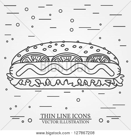 Vector thin line icon  hot dog. For web design and application interface, also useful for infographics. Vector dark grey. Vector illustration.