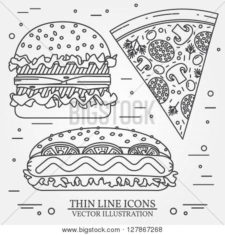 Vector thin line icon pizza,  hot dog and burger . For web design and application interface, also useful for infographics. Vector dark grey. Vector illustration.