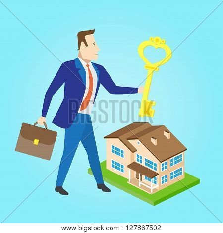 Real estate agent with a key and house model for sale. Vector illustration.