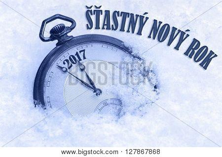 Happy New Year 2017 greeting in Czech language Stastny novy rok text