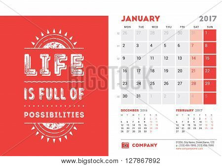 Desk Calendar Template For 2017 Year. January. Design Template With Motivational Quote. 3 Months On