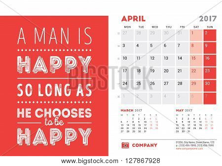 Desk Calendar Template For 2017 Year. April. Design Template With Motivational Quote. 3 Months On Pa