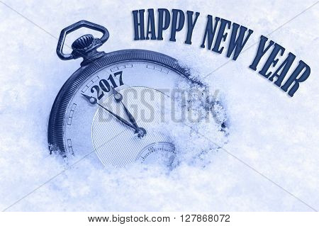 Pocket watch in snow Happy New Year 2017 greeting card, English text, English language