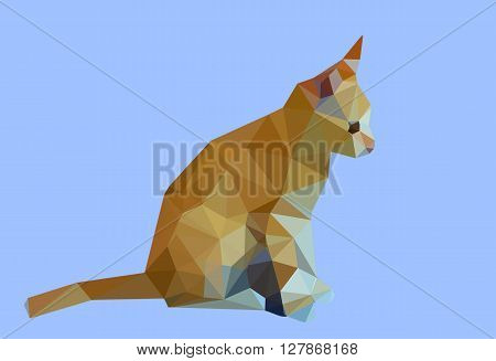Digital illustration - Low Poly Cat. Triangle polygonal stile siamese kitten. Flat design creative illustration. Low poly style cat, modern polydonal design. Low poly cat design on blue background.