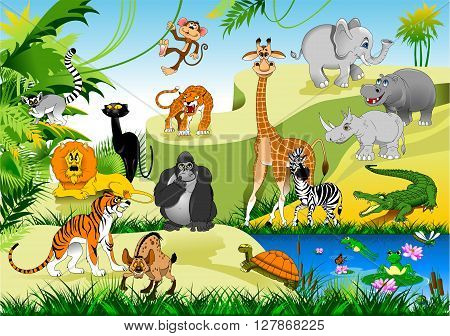 large group of animals in the green jungles vector and illustration