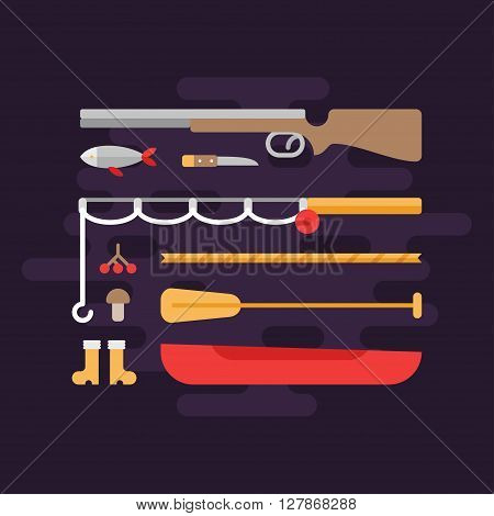 Fishing and Hunting. Tourism Concept. Set of Flat Style Vector Elements. Shotgun Fishing Rod Boat