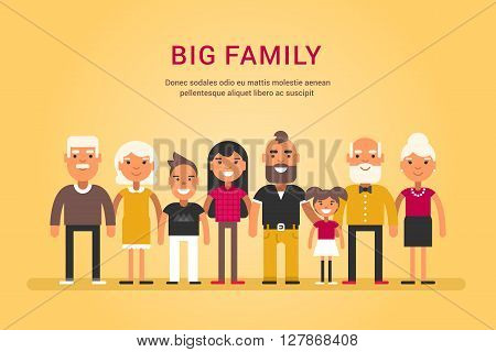 Big Happy Family. Parents with Children. Father Mother Children Grandfather Grandmother Siblings Wife Husband Uncle Aunt