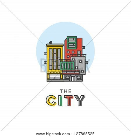 Vector Line Art Colorful City Logo Type Template Creative Design for Real and Land Estate, Urban and Europe Style Life