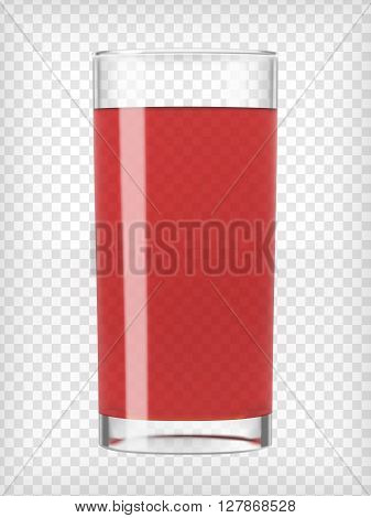 Red Fruit juice glass. Fruit organic drink. Healthy diet. Clean eating. Tall glass with beverage. Transparent  photo realistic vector illustration.