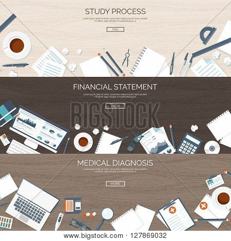 Flat backgrounds set. Study process. Online education. Web courses, e-learning. Financial statement. Money making and saving. Business.First aid, medical help. Doctor, hospital. Diagnosis.