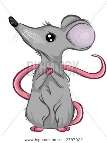Scared Mouse looking Up - Vector