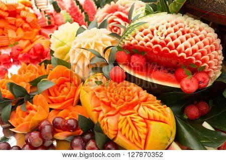 fruit carved shape beautiful flowers, beautiful craft