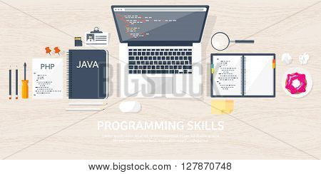 Programming, coding. Flat computing background. Code, hardware, software. Web development. Search engine optimization. Innovation, technologies. Mobile app. Vector illustration. SEO.