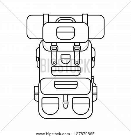 Tourist hiker backpack thin line design icon. Adventure traveler backpacker rucksack linear pictogram for web an applications. Vector hiking bag outline isolated on white background.