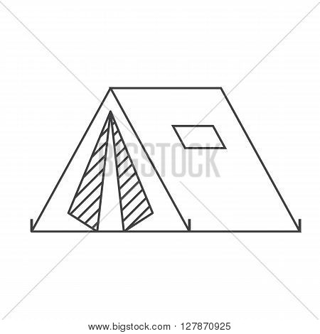 Camping tent vector thin line vector icon. Adventure outline pictogram.