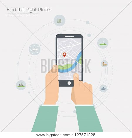 Flat design illustration of navigation application on smartphone.