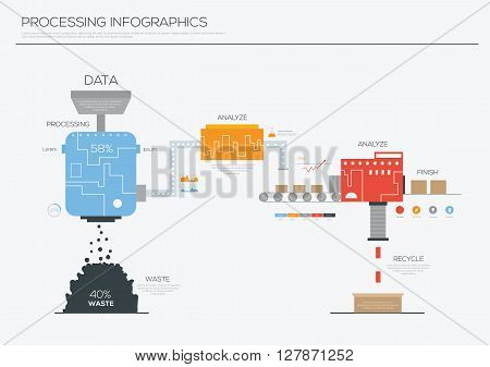 Data processing infographics design ,Illustration eps 10