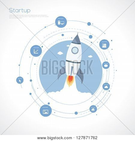Start up rocket concept. Flat design.Vector Illustration