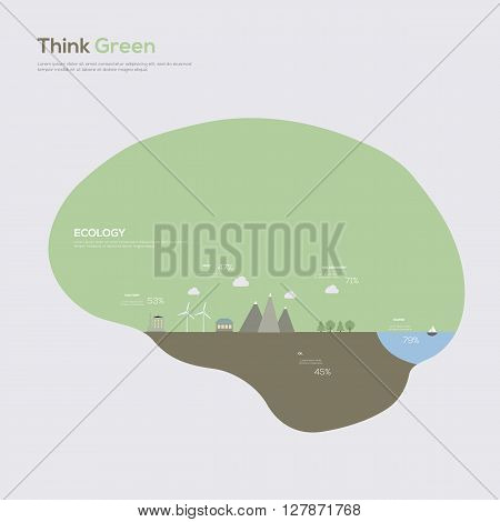 Think Green Brain. Ecology Infographic Concept. Vector illustration