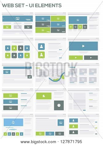 Web site UI design elements with icons set