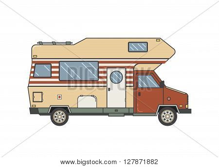 Camping trailer family caravan. Traveler truck camper outline icon in thin line design. Vector flat vacation RV illustration isolated on white background