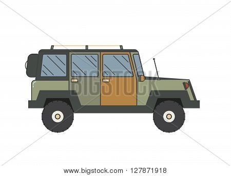 Adventure traveler truck outline and thin line icon. Suv jeep for safari and extreme travel pictogram in black and white. Vector monochrome silhouette Rv icon