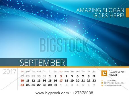 Desk Line Calendar For 2017 Year. Vector Design Print Template With Abstract Background. September.