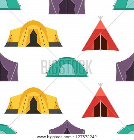 Hiking tent vector pattern. Tourist camping tents endless texture for textile. Vector illustration backdrop for tourist website and applications on white back. Adventure seamless background.
