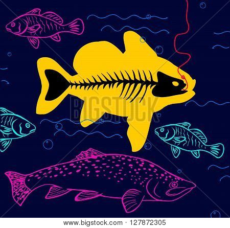 big fish. funny cute colored vector illustration