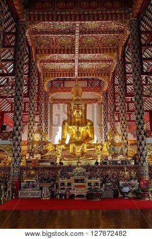 Golden Buddha Statue In Wat Suan Dok Temple, Chiang Mai, Thailand