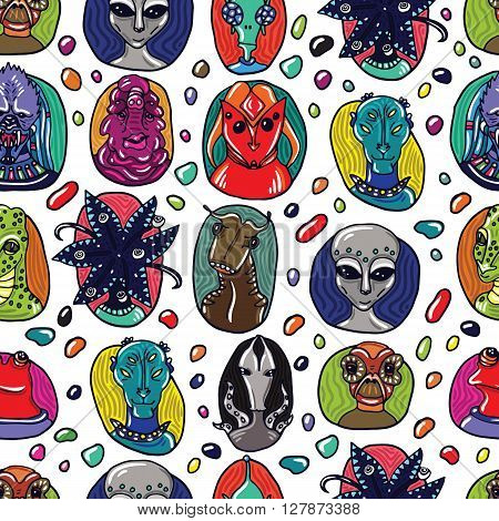 Alien portraits seamless pattern. Fictional creatures from another planet. Vector cartoon characters.