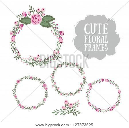 Floral Frame Collection. Set of cute retro flowers arranged a shape of the wreath perfect for wedding invitations and birthday cards.