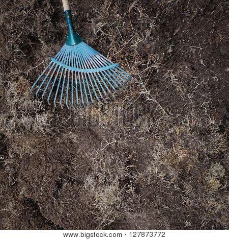 Yard Work, Preparation Soil In Garden With Rake Shoveling Dry Grass