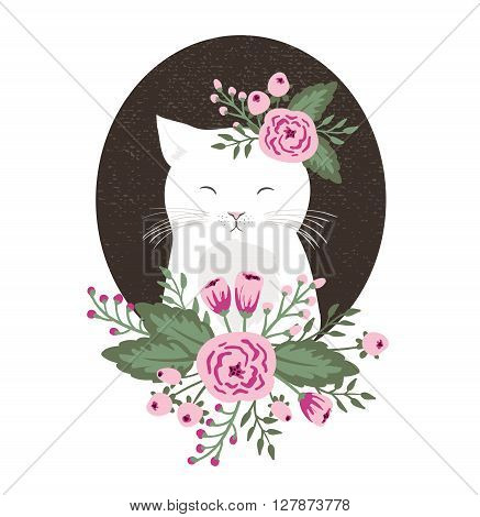 Hipster kitty with flowers on vintage textured background cat hand drawn. vector illustration