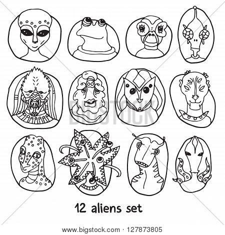 Alien portraits black and white set. Fictional creatures from another planet. Vector cartoon characters. Fantastic space dossier.