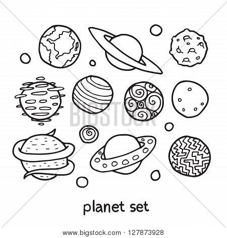 Cartoon set of fictional planets. Fantasy worlds collection. Cute vector illustration. Good for coloring book.