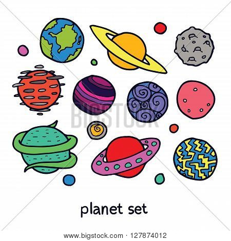 Cartoon set of fictional planets. Fantasy worlds collection. Cute vector illustration.