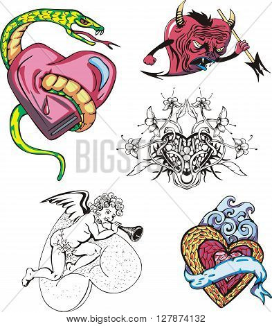 Set of miscellaneous cartoon hearts. Vector illustrations.