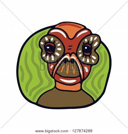 Portrait of a old brown alien. Fictional creature from another planet. Vector cartoon character.