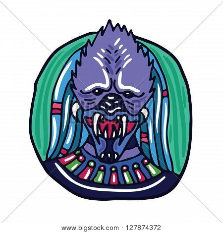 Portrait of a purple predatory alien. Fictional creature from another planet. Vector cartoon character.