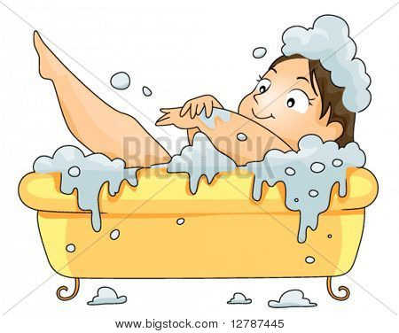 Plump woman in Bath Tub - Vector