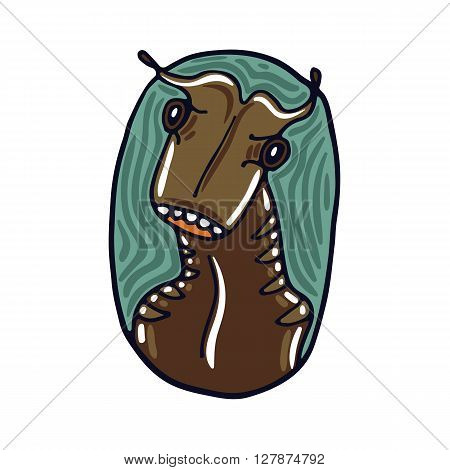Portrait of a brown alien. Fictional creature from another planet. Vector cartoon character.