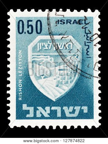 ISRAEL - CIRCA 1965 : Cancelled postage stamp printed by Israel, that shows Rishon Leziyyon.