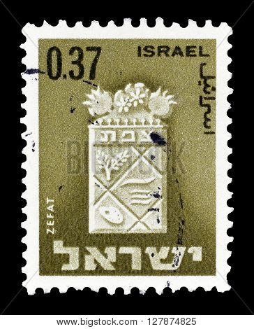 ISRAEL - CIRCA 1965 : Cancelled postage stamp printed by Israel, that shows Zefat.