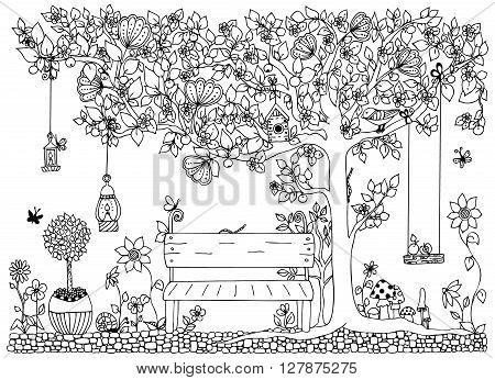 Vector illustration zentangl park garden spring: bench a tree with apples flowers. Anti-stress for adults. Black and white. Adult coloring book.