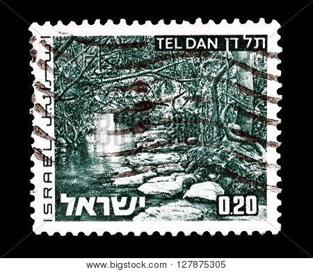 ISRAEL - CIRCA 1971 : Cancelled postage stamp printed by Israel, that shows Tel Dan.