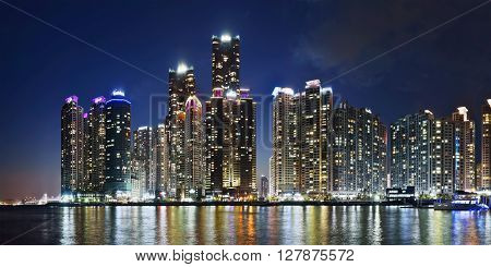 Panoramic night view of Marina city's skycrappers in Busan, Republic of Korea