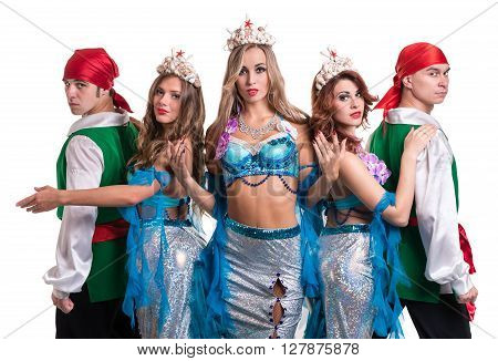 Carnival dancer team dressed as mermaids and pirates. Retro fashion style, isolated on white background