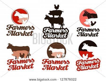 farm vector logo. livestock farming or animal husbandry icon