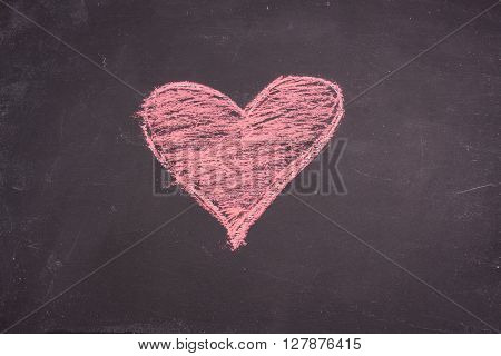 chalk heart drawing on a black background